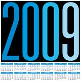 Calendar 2009. Calendar for 2009. Numbers within a grid Royalty Free Stock Image