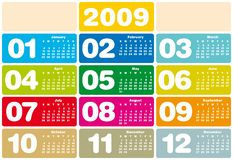 Calendar 2009. Colorful Calendar for 2009. with space reserved for logo Stock Image