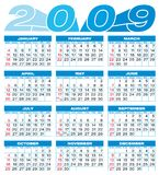 Calendar 2009. Calendar for 2009. Numbers within a grid royalty free illustration
