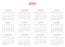 Calendar 2009. Vector illustration calendar of 2009 year. On white background. Additional format: EPS-8 Royalty Free Stock Images