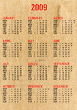 Calendar 2009. Calendar of year 2009 with corrugated cardboard background Royalty Free Stock Photos