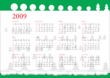 Calendar of 2009. Horizontal oriented calendar grid of 2009 year with winter image Stock Photography