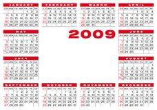 Calendar 2009. Calendar for 2009. Numbers within a grid. with space for a picture or the logo in the center vector illustration