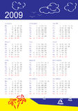 Calendar of 2009. Vertical oriented calendar grid of 2009 year. Monday is first day of week. With tropic theme stock illustration