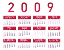 Calendar for 2009. On white royalty free illustration