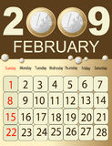 Calendar 2009. Calendars, New Year 2009, February, money royalty free illustration