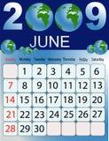 Calendar 2009. Calendars, New Year 2009, June, globe stock illustration