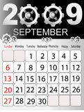 Calendar 2009. Calendars, New Year 2009, September, cogwheel n Royalty Free Stock Image