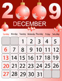 Calendar 2009. Calendars, New Year 2009, December stock illustration
