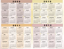 Calendar 2009. Calendar, New Year 2009, 2010, 2011, 2012d vector illustration