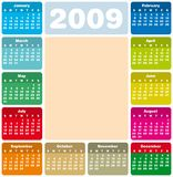Calendar 2009. Colorful Calendar for 2009. with space reserved a picture in the center Stock Photography