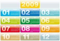 Calendar 2009. Colorful Calendar for 2009. with space reserved for logo Royalty Free Stock Images