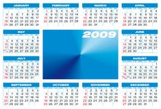 Calendar 2009. Calendar for 2009. Blue themed, numbers within a grid, and with space for a picture or logotype in the center royalty free illustration