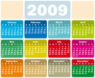 Calendar 2009. Colorful Calendar for 2009. Horizontal design. With Space reserved for logo and text Royalty Free Stock Images