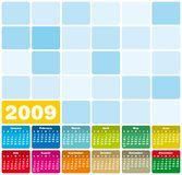 Calendar 2009. Colorful Calendar for 2009. Squares Design Stock Images