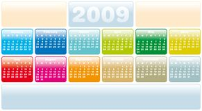 Calendar 2009. Colorful Calendar for 2009. Horizontal design. With Space reserved for logo and text Royalty Free Stock Photo