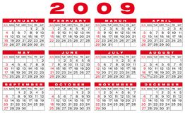 Calendar 2009. Calendar for 2009. Numbers within a grid. Horizontal design Stock Illustration