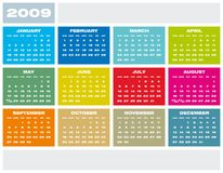 Calendar 2009. Colorful Calendar for year 2009 Royalty Free Stock Photo