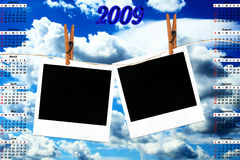 Calendar for 2009. And photos hanging on a rope with clothespins against blue sky vector illustration