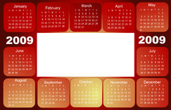 Calendar, 2009. Months on red Royalty Free Stock Images