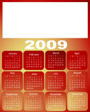 Calendar, 2009. Months on red Stock Photo