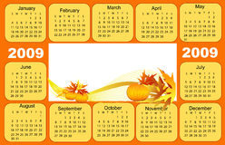 Calendar 2009. Orange punpkins, Thanksgiving day royalty free illustration