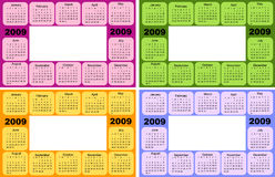 Calendar, 2009. Four colors, green, yellow, violet and pink vector illustration