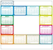 Calendar 2009. Colorful Calendar for 2009. with space for a picture in the center Vector Illustration
