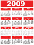 Calendar 2009. Red year month day Royalty Free Stock Photo
