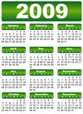 Calendar 2009. Green year month day vector illustration
