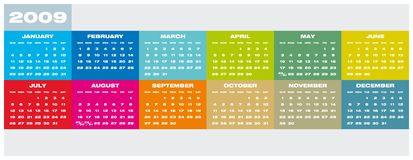 Calendar 2009. Colorful Calendar for year 2009 Stock Photos