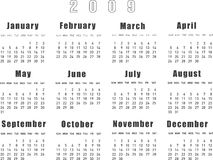 Calendar 2009. Vector Illustration of calendar 2009 Stock Photo