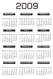 Calendar 2009. Illustration of calendar for 2009. year Royalty Free Stock Photography