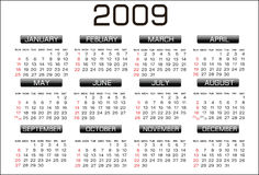Calendar 2009. A calendar for 2009 on a white background with the months in a grid system with the year 2009 in a solid black over the top vector illustration