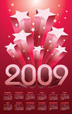 Calendar 2009. On stars rise background Stock Photo