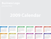 Calendar 2009. Multi-Colored 2009 Monthly Calendar Stock Images