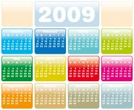 Calendar 2009 g01. Colorful Calendar for 2009. Horizontal design. With Space reserved for logo Royalty Free Stock Photos