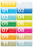 Calendar 2009 in Spanish. Colorful Calendar for 2009. in Spanish Royalty Free Illustration