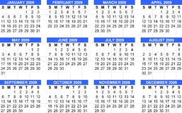 Calendar 2009, Starts Sunday. Calendar 2009 will being used for date calculation everyday by now till the year of 2009 vector illustration