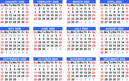 Calendar 2009, starts from Sunday and in blue head. The year of 2009 is coming soon and the caledar will help people to make a schedule Royalty Free Stock Images