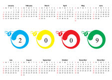 Calendar of 2009. Sunday is first. Horizontal oriented calendar grid of 2009 . Sunday is first day of week stock illustration