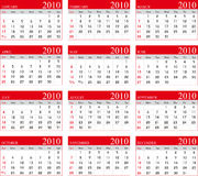 Calendar 2010 Stock Image