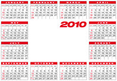Calendar 2010. Calendar for year 2010, in vector format Royalty Free Stock Photos