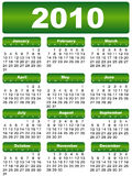 Calendar 2010. Green year month day stock illustration