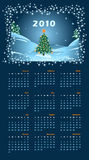 Calendar for 2010. 2010 calendar with Christmas tree. Vector illustration Royalty Free Stock Photography