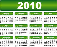 Calendar for 2010. Green calendar for 2010 year Royalty Free Stock Image