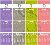 Calendar for 2010. Vector Illustration of style design Colorful Calendar for 2010 Royalty Free Stock Photo