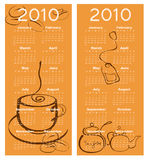 Calendar for 2010. Vector Illustration of cafe style design Calendar for 2010 Royalty Free Stock Image