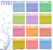 Calendar for 2010. Vector Illustration of style design Colorful Calendar for 2010 Royalty Free Stock Photos