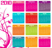 Calendar for 2010. Vector Illustration of style design Colorful Calendar for 2010 royalty free illustration